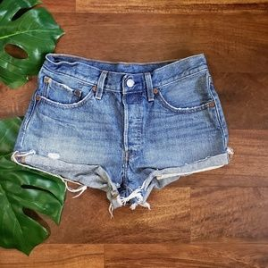 Levi's High Waisted 4 Button Fly Jean Shorts
